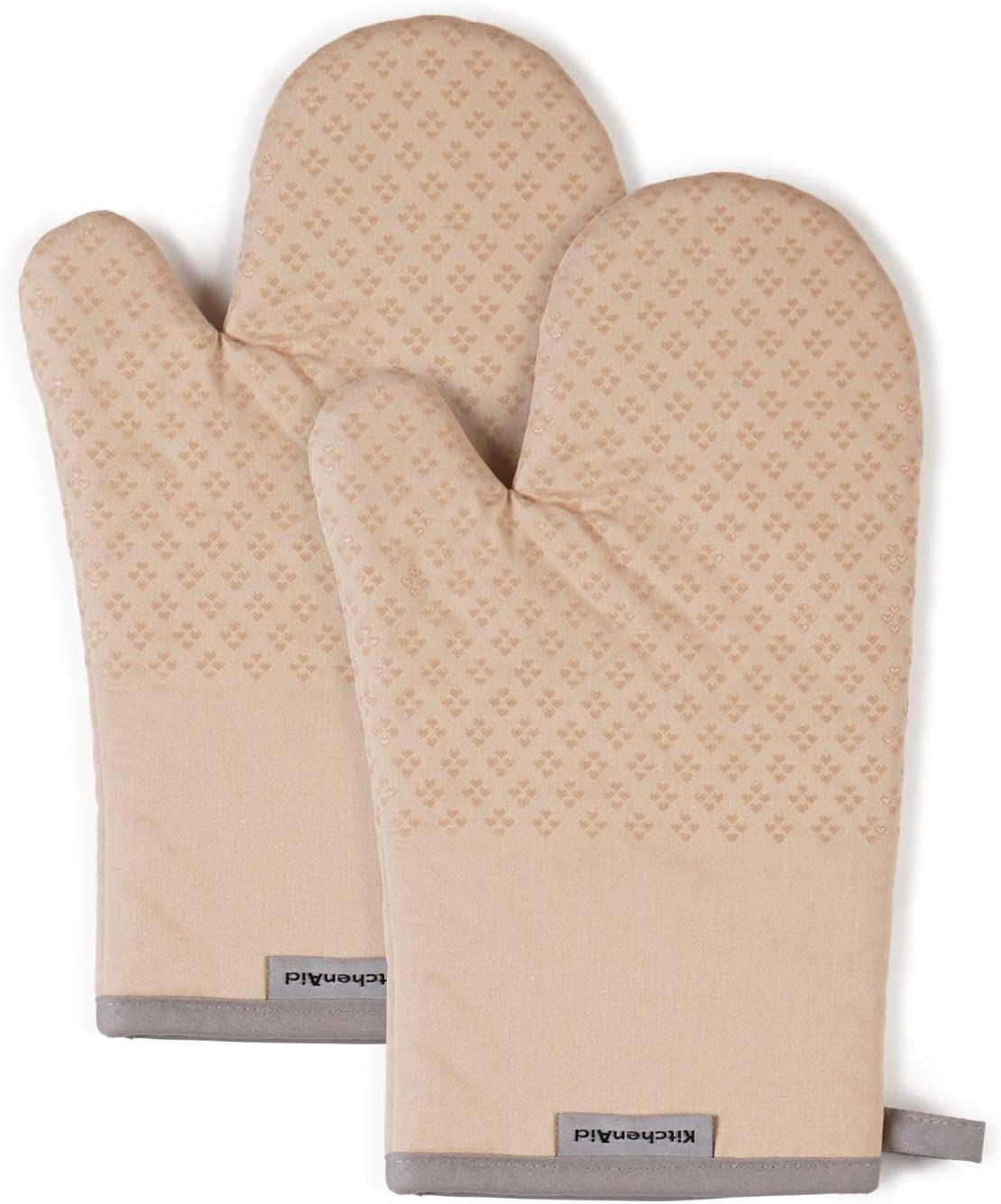 KitchenAid Asteroid Cotton Oven Mitts with Silicone Grip, Set of 2, Beige