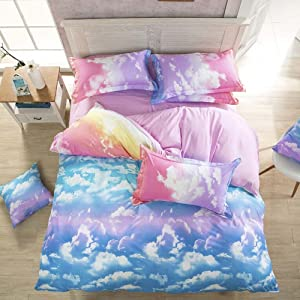 Nattey Cloud Sky Duvet Cover Set Rainbow Bedding - Lightweight and Soft(Twin,Pink and SkyBlue)