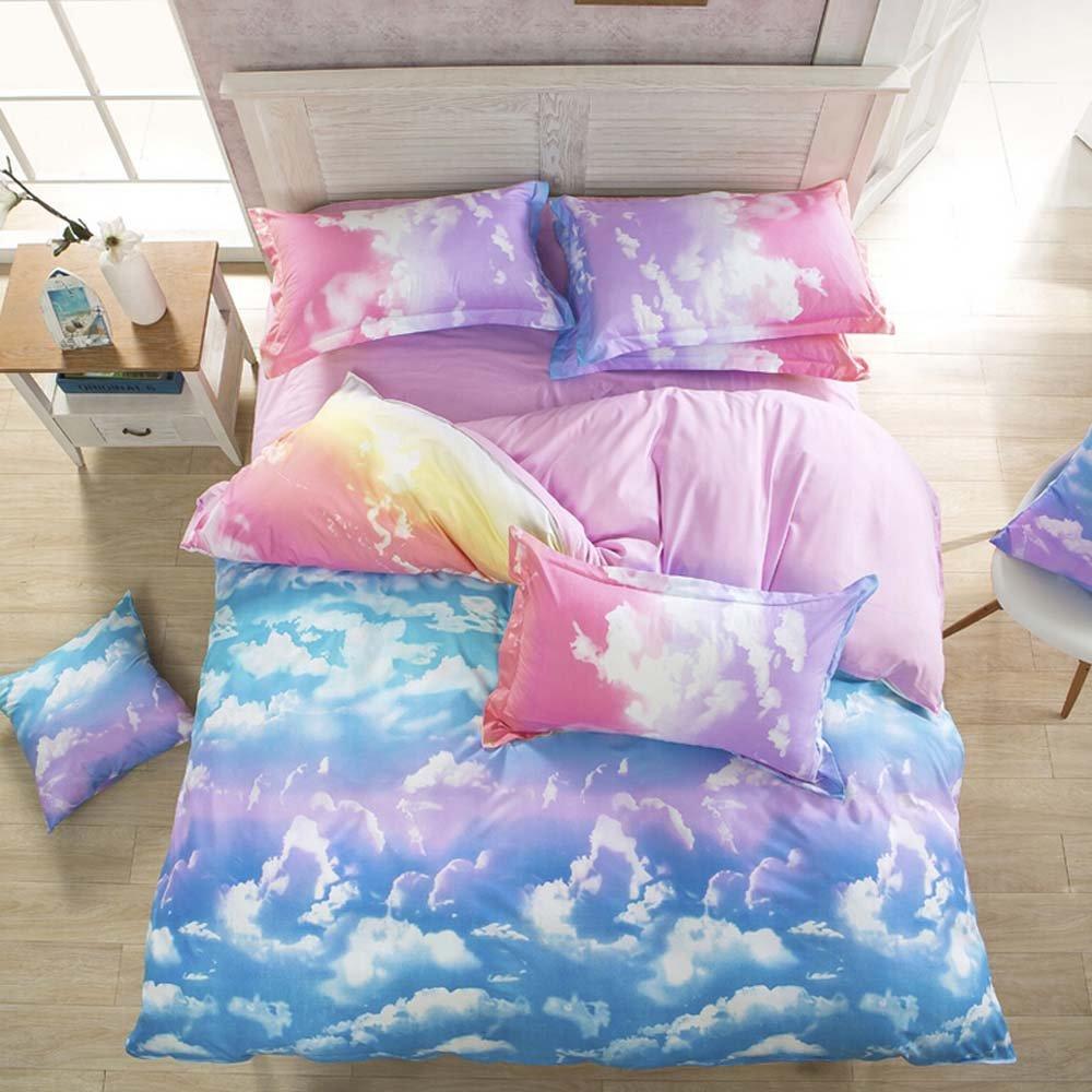 Nattey Cotton Blend Cloud Sky Twin Queen King Size Bed Pillowcase Duvet Quilt Cover Set Twin Queen King (King)