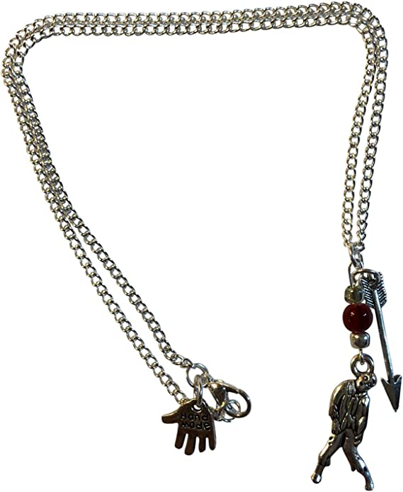 Porter Gallery USA Steampunk TWD Zombie Arrow Beads Silver Necklace 18
