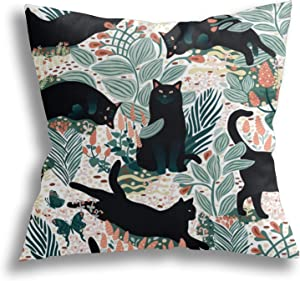 AKYUU Black Cat in The Butterfly Garden Square Pillow Covers, Decorative Throw Pillow Cases, Soft Pillowcases for Living Room, Bedroom, Sofa, Bed, 18