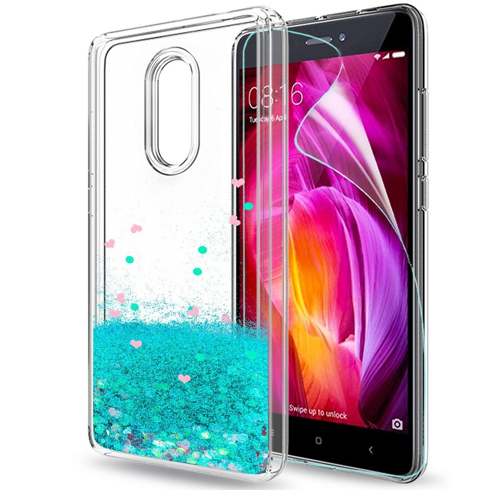 LeYi Funda Xiaomi Redmi Note 4 / 4X Silicona Purpurina Carcasa con HD Protectores de Pantalla,Transparente Cristal Bumper Telefono Gel TPU Fundas Case ...