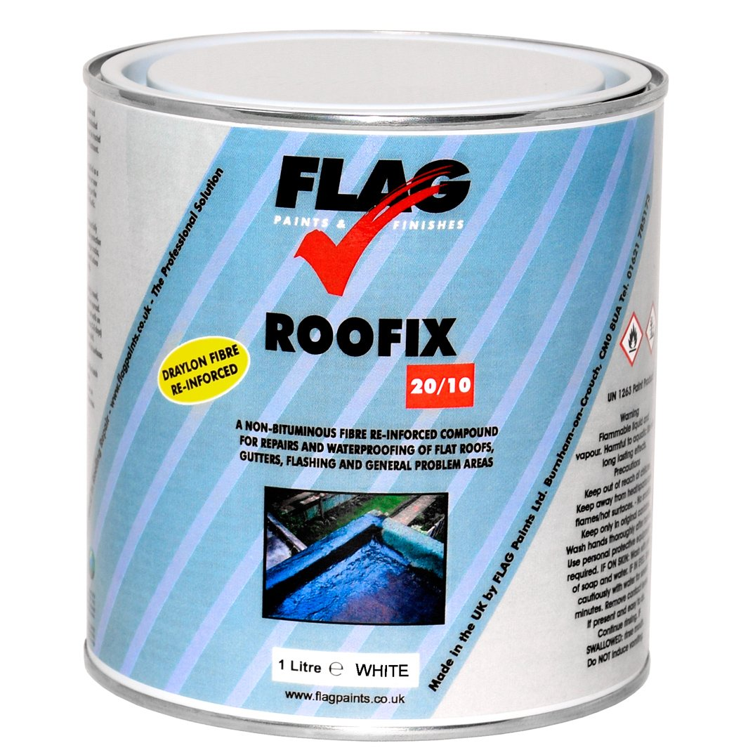 Roofix 20/10 (Multisurface) Roof & Gutter Repair 1 litre Black, Grey or White (Grey) Flag Paints
