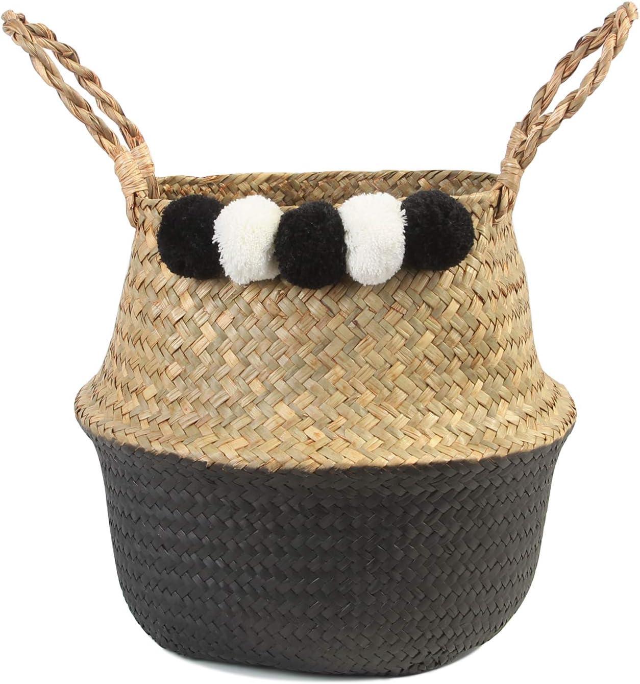 BlueMake Woven Seagrass Belly Basket for Storage Plant Basket or Toy Basket Living Bathroom (Medium, White and Black)