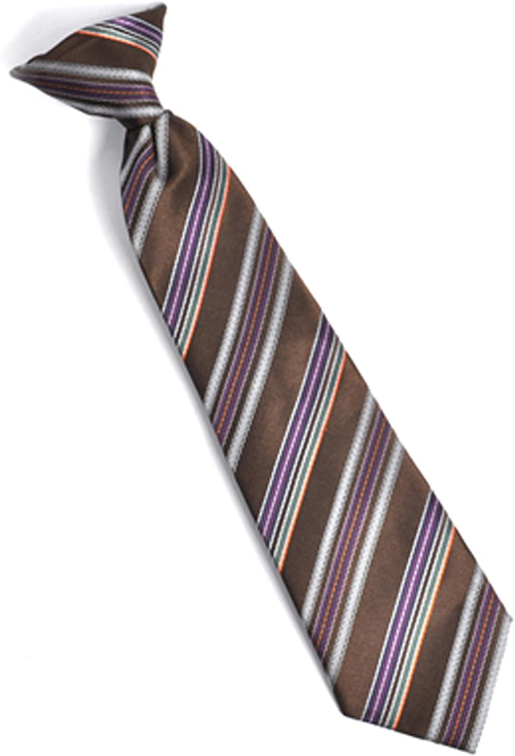 Boys Youth Brown Colorful Stripe Clip On Tie
