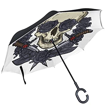 ALAZA calavera daga espada oscuro gris rosas paraguas invertido doble capa resistente al viento Reverse paraguas