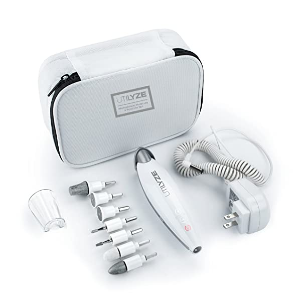 UTILYZE 10-in-1 Professional Electric Manicure & Pedicure Set, Powerful Nail Drill, 10-Speed System, Innovative Touch Control & More. File, Buff, Smooth, Shine Nails, Remove Cuticles & Callus at Home (Tamaño: Manicure & Pedicure Set)