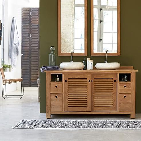 Waschtisch Waschbeckenschrank Badezimmer Unterschrank massiv Holz ... | {Doppelwaschtisch holz kaufen 19}