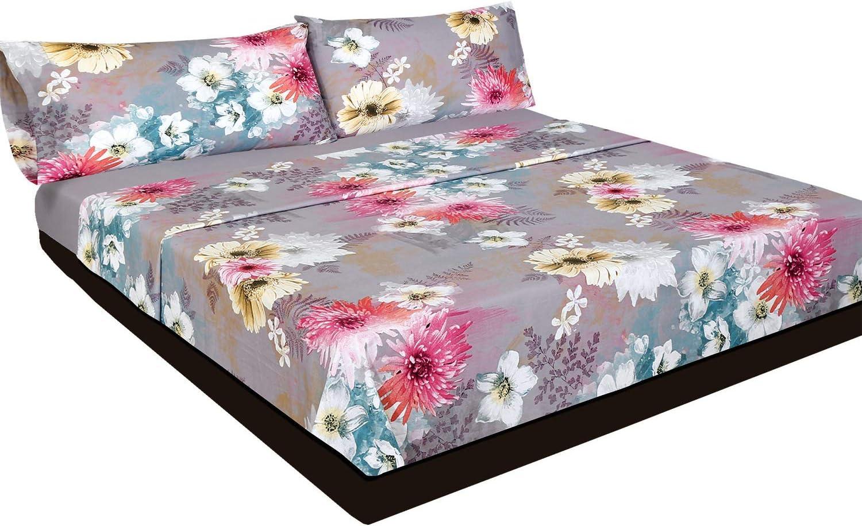Montse Interiors Juego de sábanas Flores Algodón 100% (Acuarela, para Cama de 90x190/200): Amazon.es: Hogar
