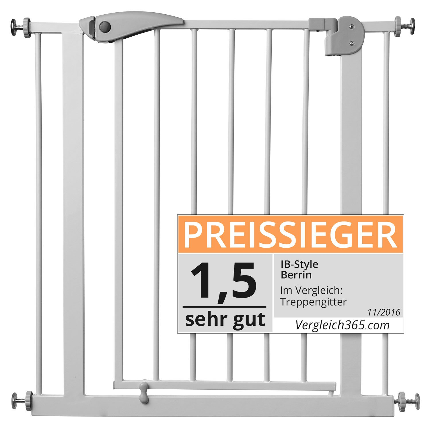 ib style® Berrin Treppengitter 67-175 I Auto-Close I 90°Stop I Einhand-Bedienung IB-Style