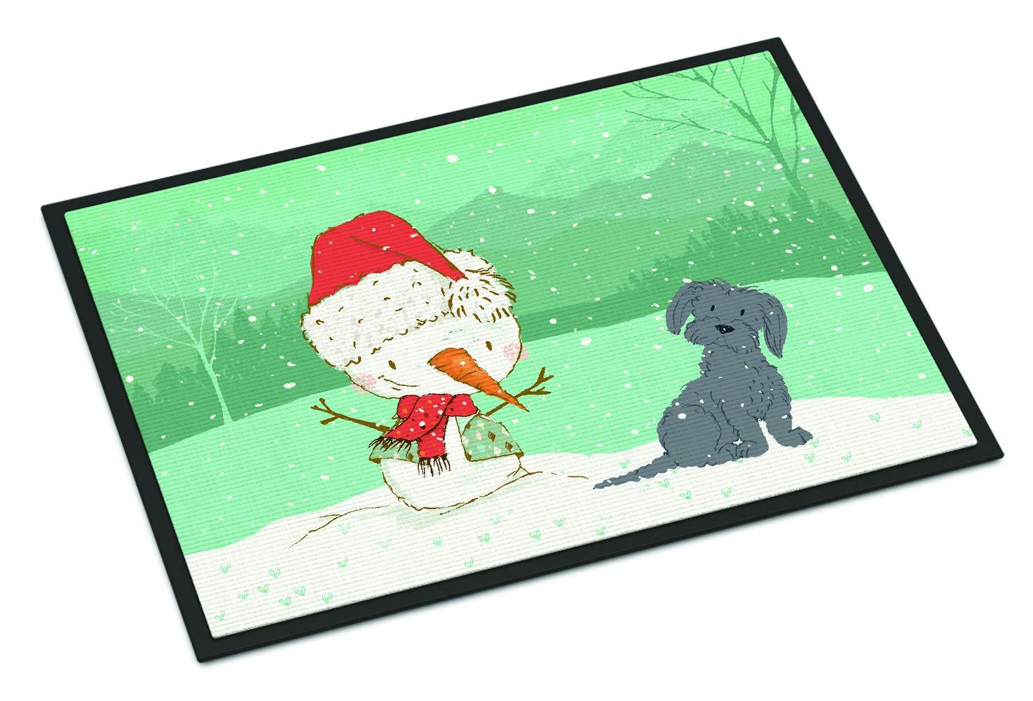Carolines Treasures Black Maltese Snowman Christmas Door Mat Multicolor