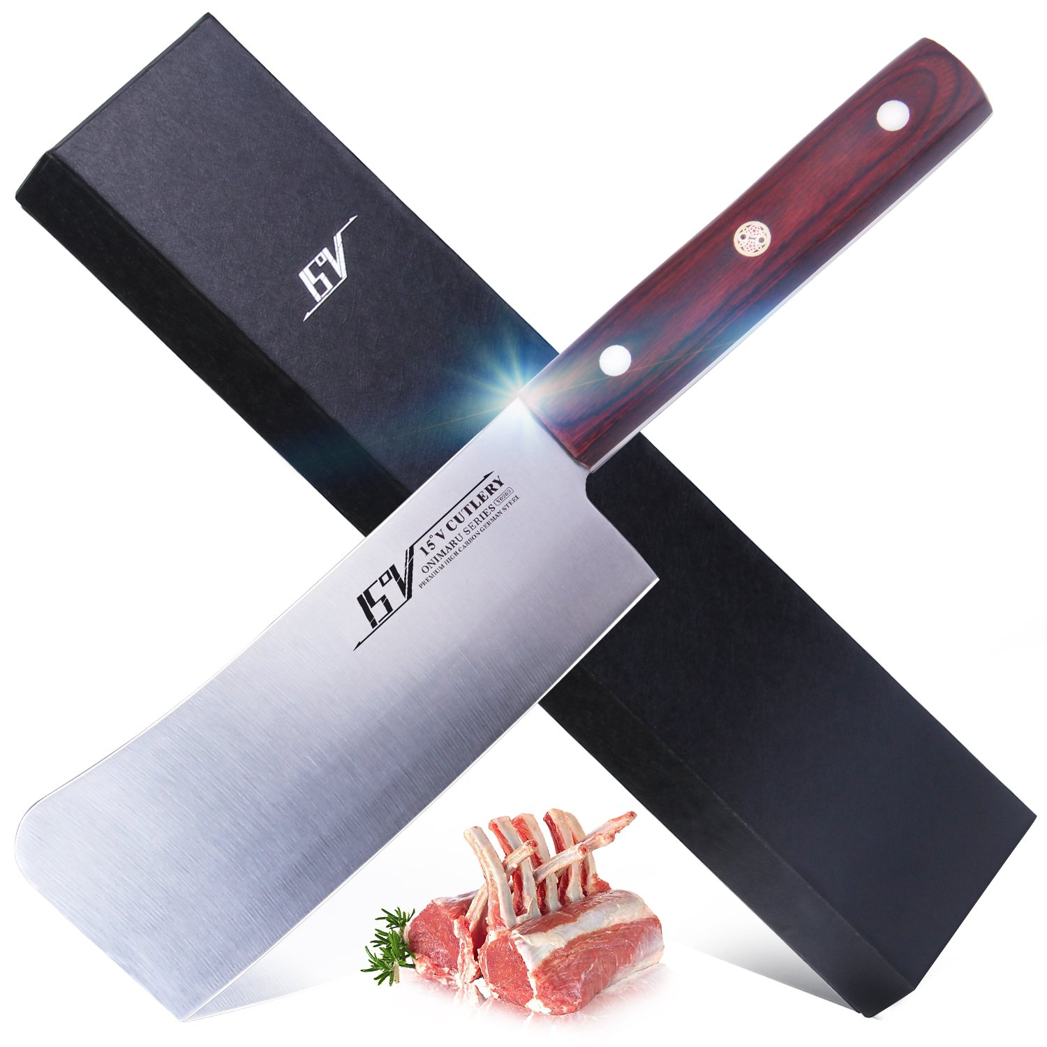 15V chopping Knife for kitchen - High Carbon German Steel meat vegetable cleaver knife Full Tang Pakkawood Handle - ONIMARU Series