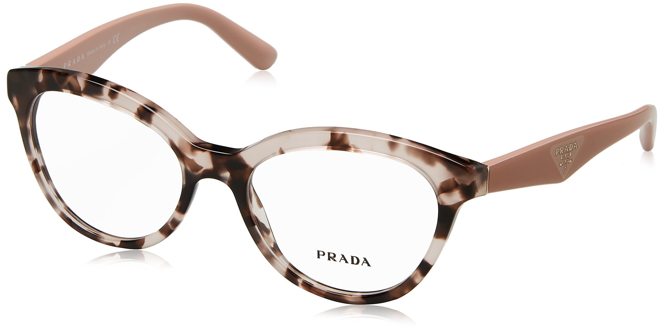 Prada TRIANGLE PR11RV Eyeglass Frames ROJ1O1-52 - Pink Havana PR11RV-ROJ1O1-52