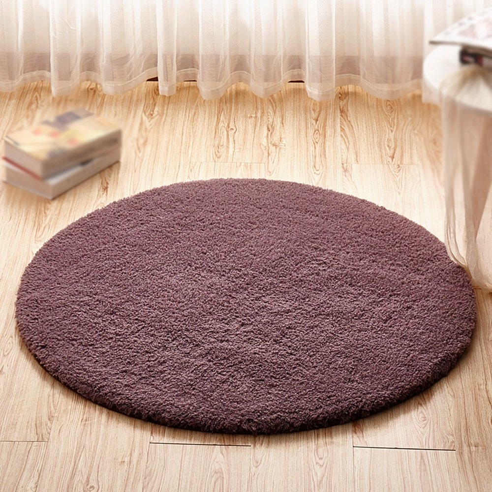 Gray purple round carpet / computer chair swing chair thick mat / basket hoist carpet / children bedroom bedside living room study desk non-slip mat ( Size : Diameter 200cm )