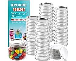 XPCARE 96 Pieces Canning Lids and Rings Regular Mouth - 48 Pieces Canning Lids + 48 Pieces Rings - Regular Mouth Mason Jar -