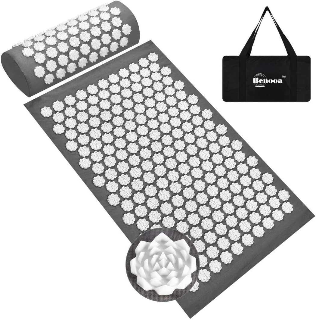 Benooa Acupressure Mat And Pillow Set For Back Neck Pain Relief Acupuncture Mats Pranamat Massage Mat For Muscle Relaxation Relieves Stress And Sciatic Pain With Carrying Bag For Storage Health Personal Care Amazon Com