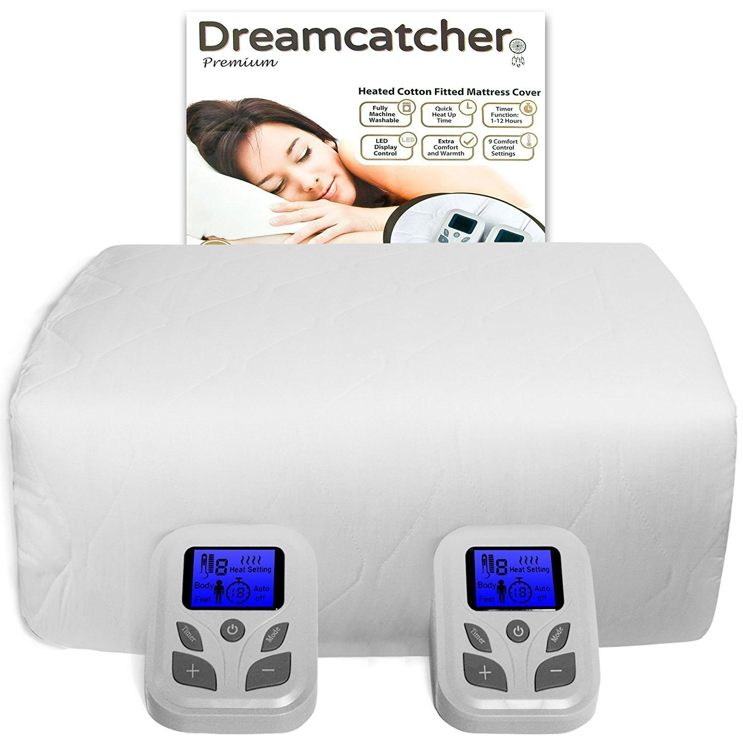 Dreamcatcher Ultra Soft Double Electric Blanket Dual Control 193 x 137cm, 40cm Elasticated Skirt for deep mattresses, Timer, 9 Comfort Settings, Machine Washable, Body & Feet Heating Function