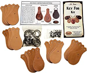 25 Pack Leather Key Chain or Key Fob Kit
