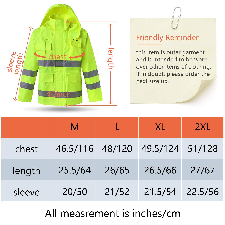 XIAKE SAFETY Class 3 Hi-Vis Reflective Rainwear Breathable Windproof Waterproof Antifouling, ANSI/ISEA Compliant,Yellow(XLarge) by XIAKE (Image #7)