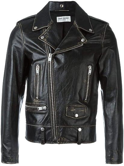 759894416c6 Saint Laurent Men s 397290Y5qd11023 Black Leather Outerwear Jacket  Amazon. co.uk  Clothing