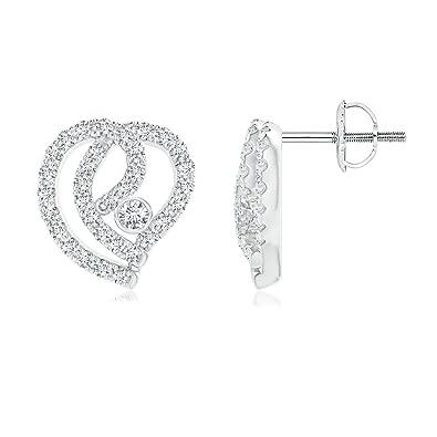 Angara Brown Diamond Hoop Earrings with Pave Setting in Platinum YMkw21XpZ