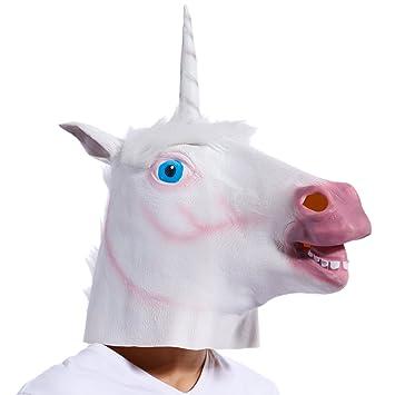 Maboobie Careta Máscara de Unicornio de Látex para Cabeza Completa Disfraz Halloween Carnaval Tema Animal y