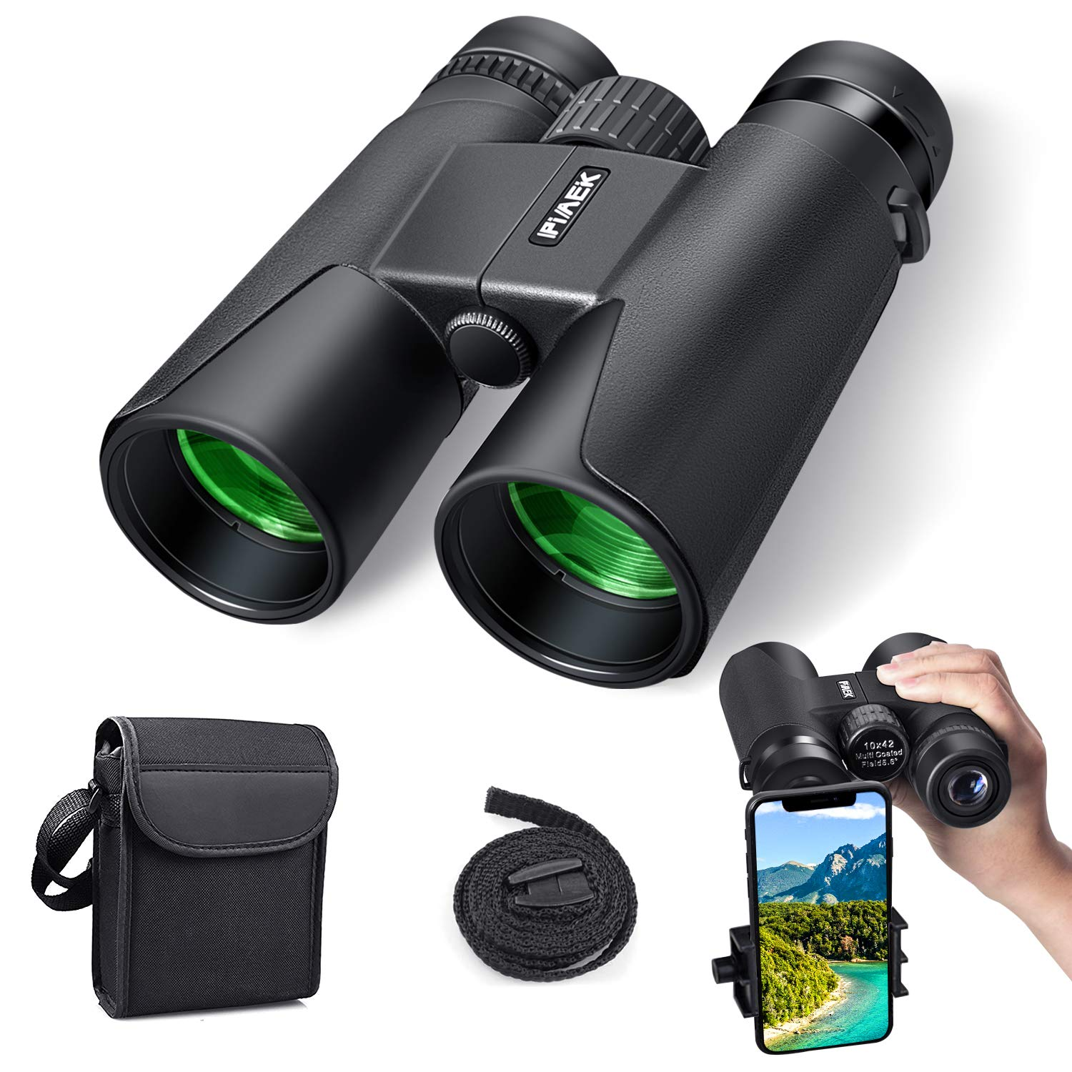 Binoculars for Adults, 10×42 Compact HD Professional Binoculars with Smart Phone Mount for Bird Watching, Camping, Hiking-BAK4 Prism FMC Lens with Neck Strap Carrying Bag