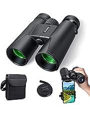 Fernglas, Kompakt Ferngläser 10x42, Wasserdicht Hochleistungs Vergrößerung Ferngläser mit Smartphone Mount Adapter für Vogelbeobachtung, Wandern, Outdoor-Sportarten,Tierwelt