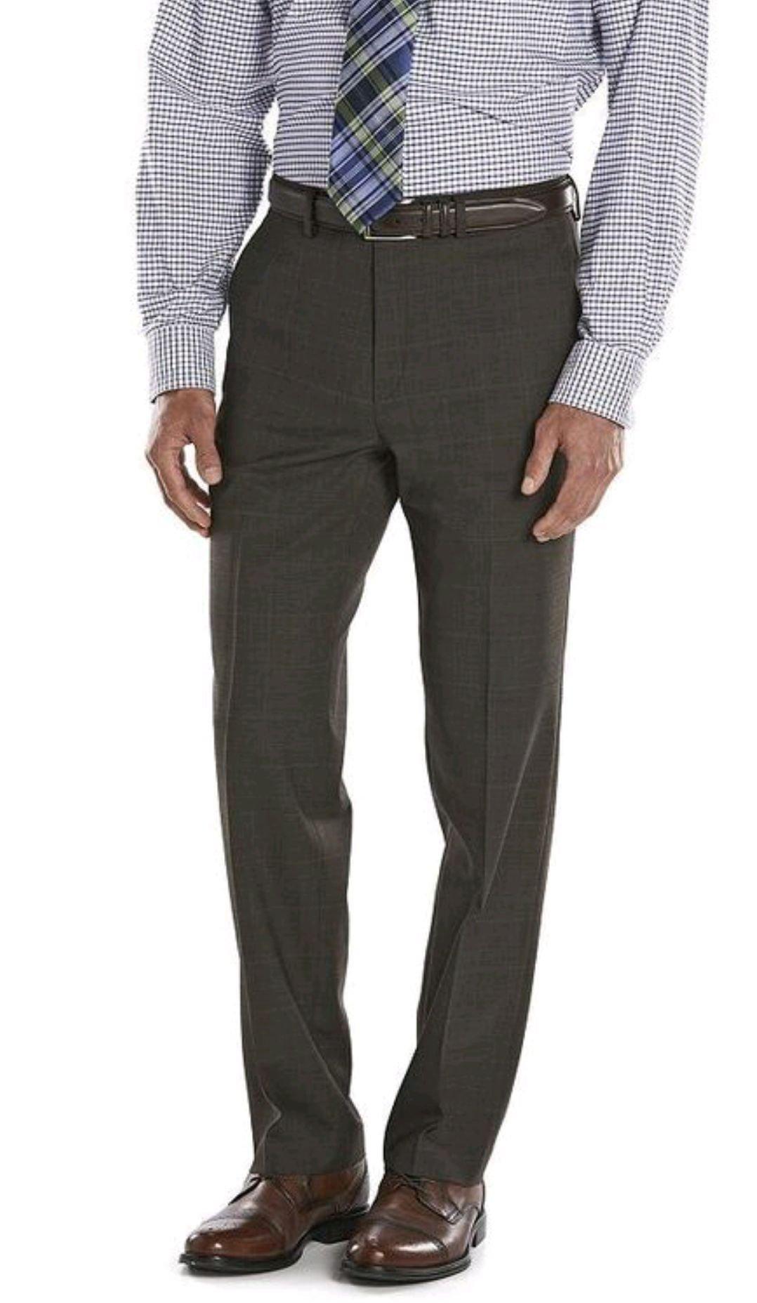 Chaps Men's Performance Comfort-Fit Wool-Blend Stretch Suit Pants, Olive (38W/29L) by Chaps