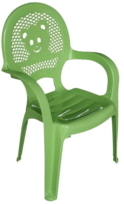 Resol Childrens Kids Garden Outdoor Plastic Chair - Green - Childs Furniture (1 chair)