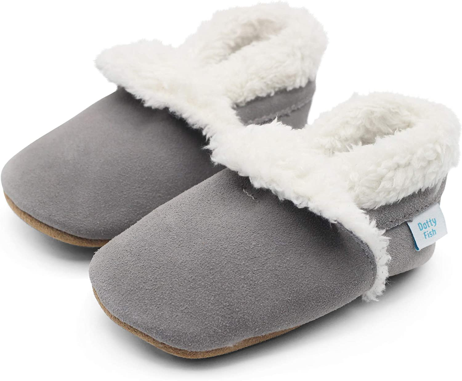 Boys Young Kids Non-Slip Soft Sole Warm Fleece Lined Girls. Dotty Fish Suede Baby Slippers Infant Toddler Shoes 0-6 Months to 5-6 Years