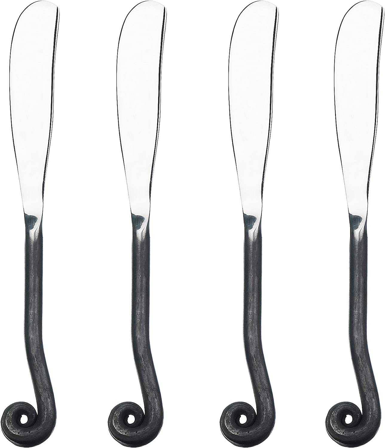 Gourmet Settings 4-Piece Spreader Knife Set Treble Clef Collection, Polished/Matte Stainless Steel, Cheese and Butter Spreading Knives, Dishwasher Safe