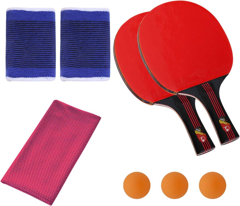 SONSYON Conjunto de Raqueta - 7-Capas de Hoja de Madera Acampanado Mango Práctica Raqueta de Tenis de Mesa