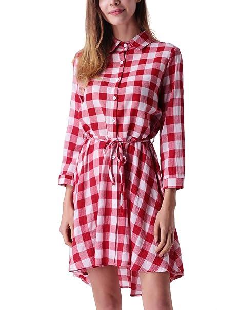 fd3291f824a Mavis Laven Women Plaid Dress Blouses Long Sleeve Casual Button Down Shirts  at Amazon Women s Clothing store