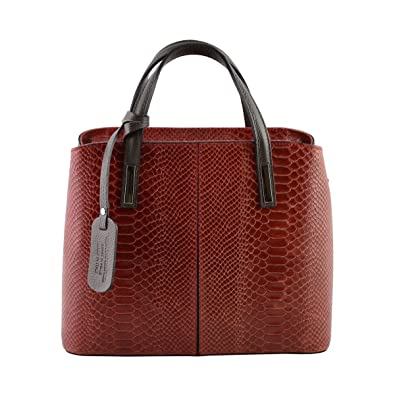 design intemporel 8c983 66624 Sac à Main En Cuir Véritable Imprimé Python Couleur Rouge ...