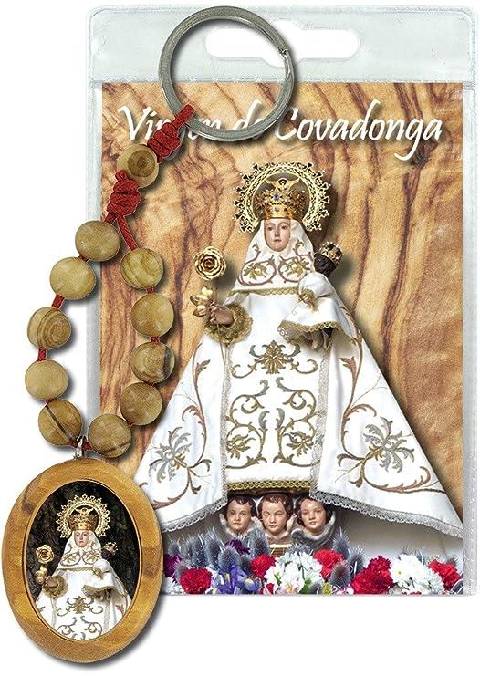 Llavero Virgen de Covadonga con decenario en madera de olivo ...