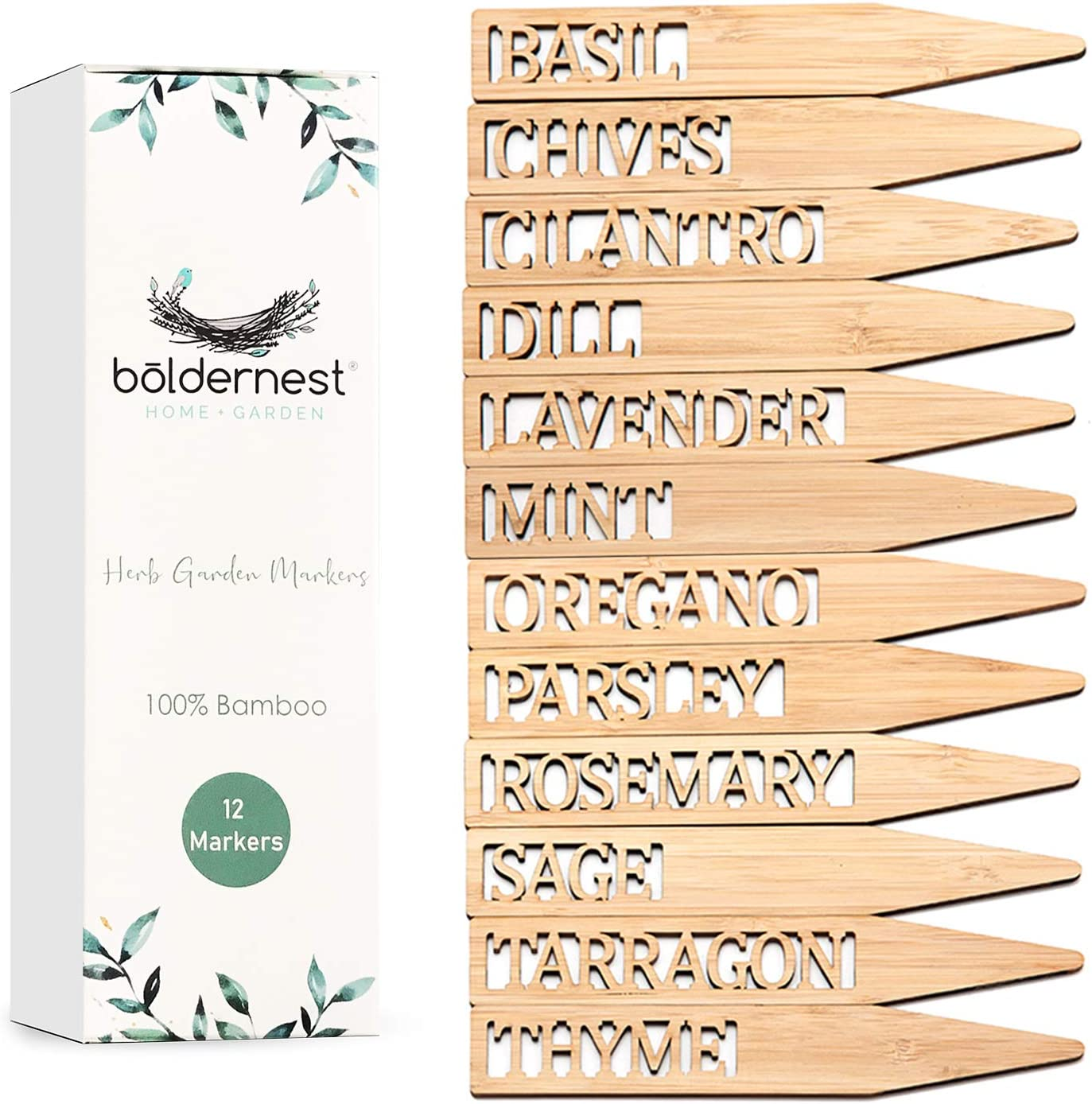 Boldernest Bamboo Herb Garden Markers - Set of 12 Beautiful Herb Garden Labels - Sturdy Herb Markers for Outdoor Garden or Potted Herbs - Lovely Herb Garden Signs