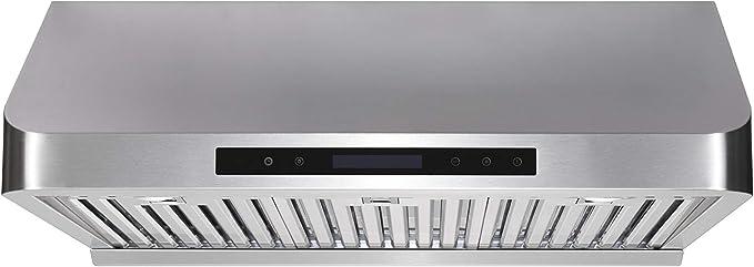 TovLux F458-30 - Campana para debajo del armario (900 CFM, conducto, escape de 4 velocidades, filtros de acero inoxidable, apto para lavavajillas, temporizador de ventilador, mando a distancia, 2 luces LED): Amazon.es: Grandes electrodomésticos
