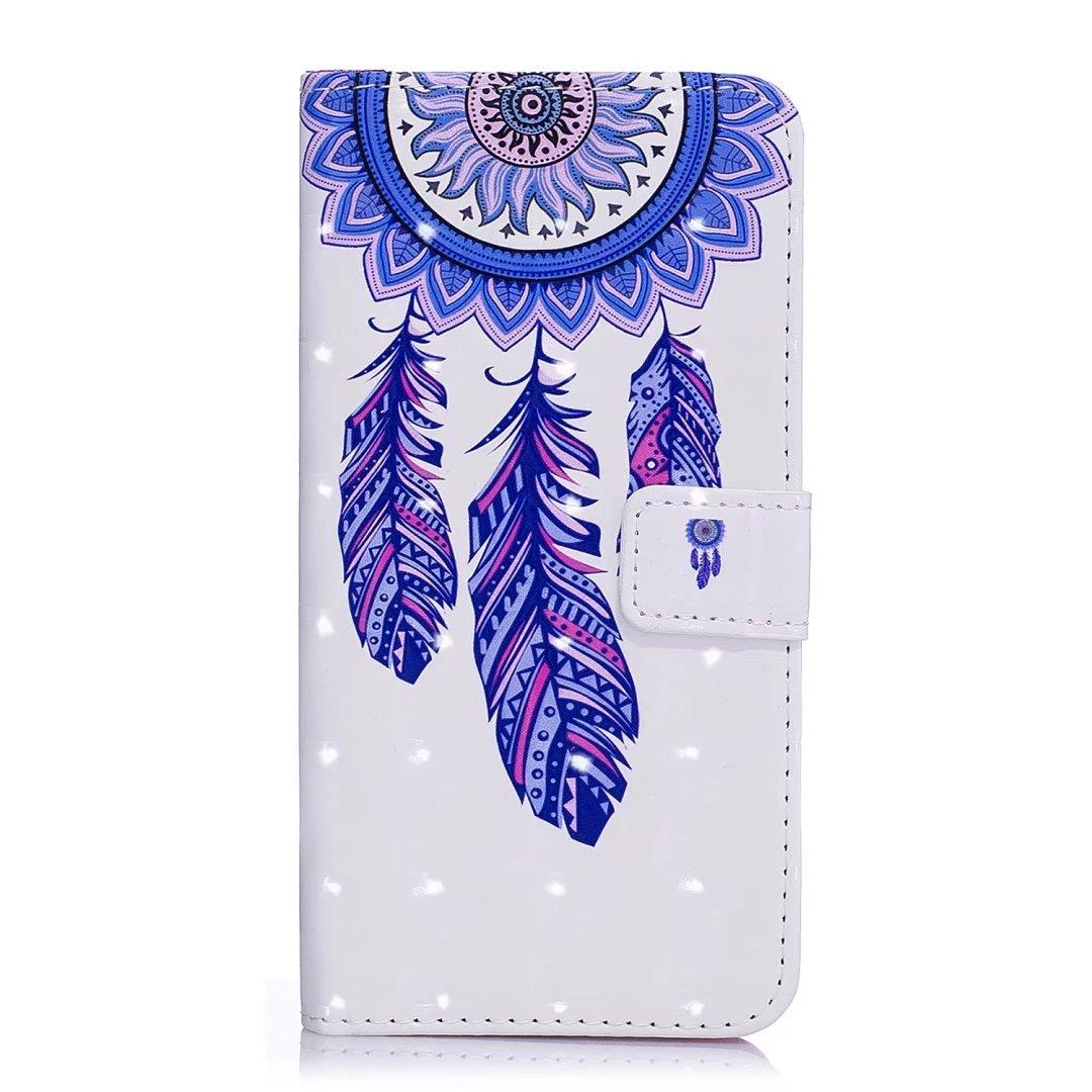 cowx Samsung Galaxy S7/Edge Coque Poche Housse Support Etui cuir PU pour Samsung Galaxy S7/Edge /Étui portefeuille Coque Blaut Espace Attrape-r/êves