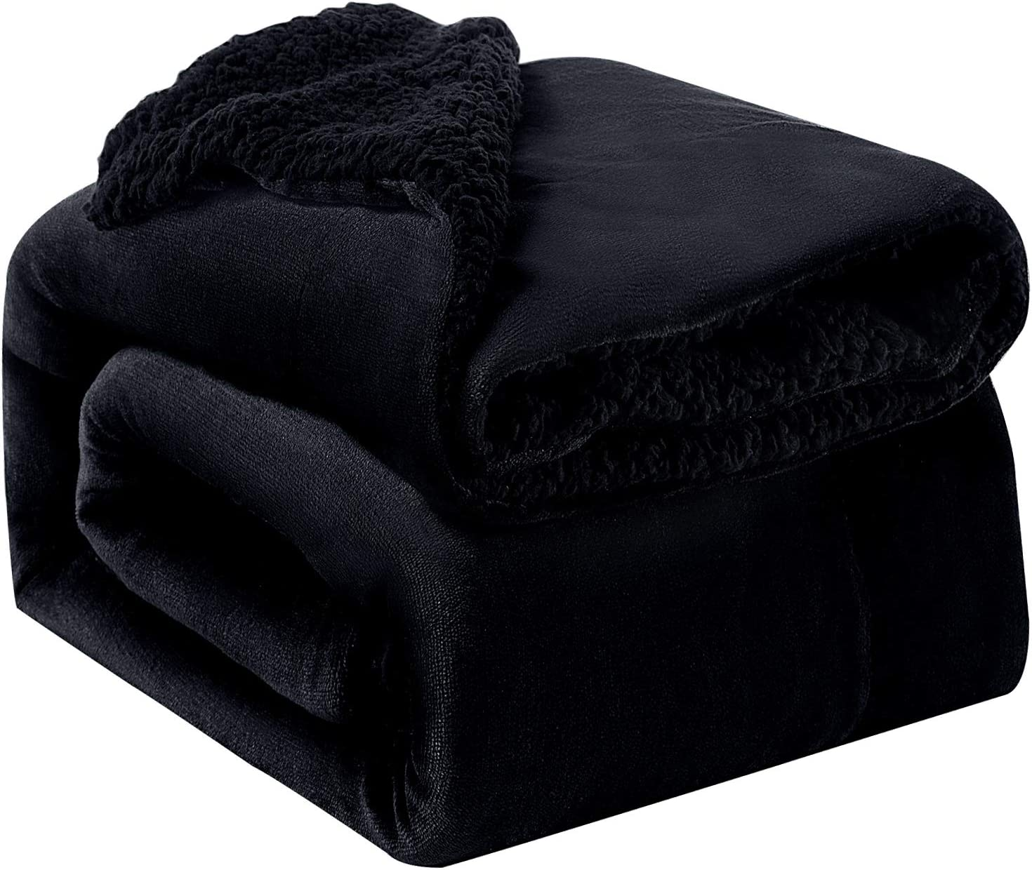 Bedsure Sherpa Fleece Blanket Twin Size Black Plush Throw Blanket Fuzzy Soft Blanket Microfiber