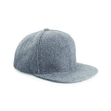 Amazon.com  Beechfield Melton Wool Snapback Cap Grey Marl ONE  Clothing f88f764fac6