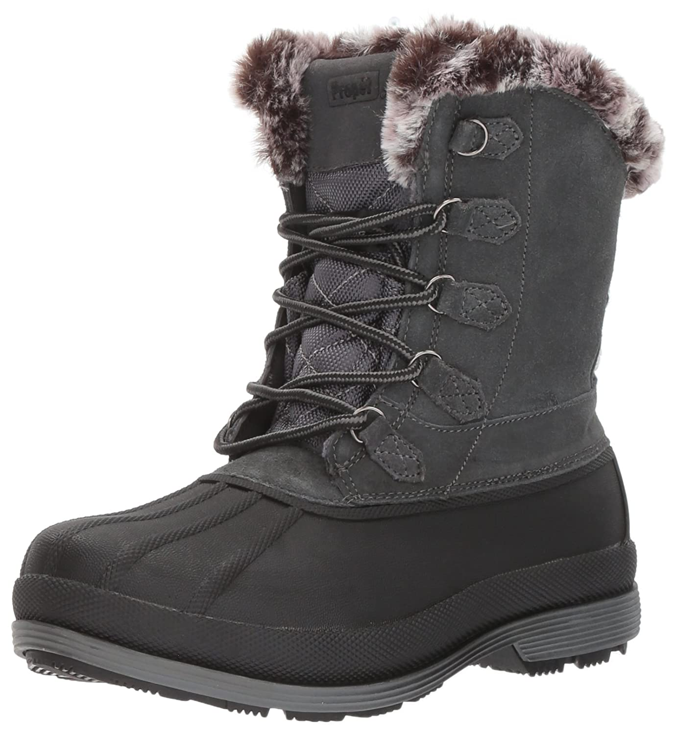 Propet Women's Lumi Tall Lace Snow Boot B01N9RNH5T 8.5 4E US|Grey