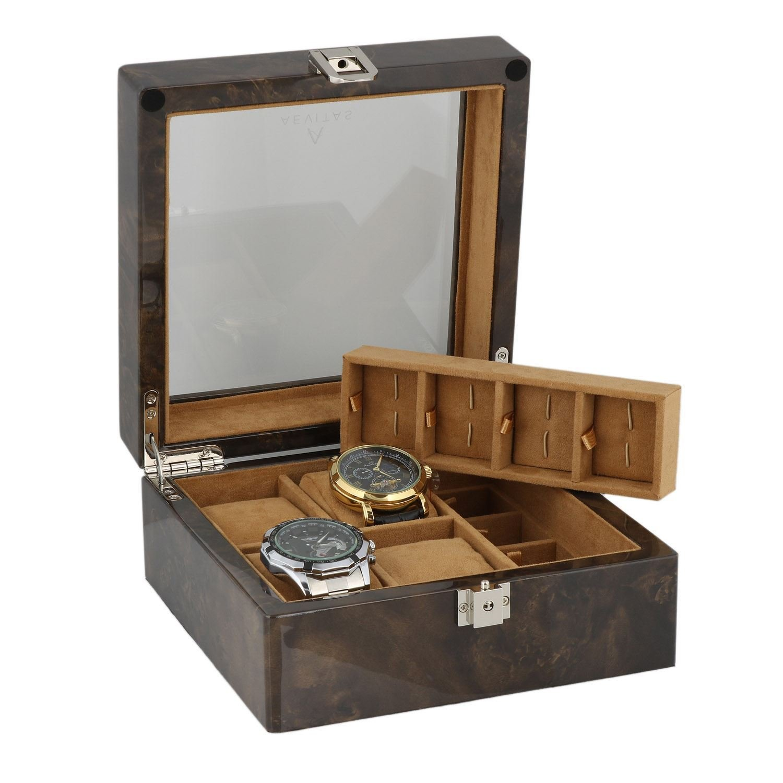 8 Paar ManschettenknÖpfe und 4-teiliges Uhren-Sammler Box in dunklen Wurzelholz von aevitas