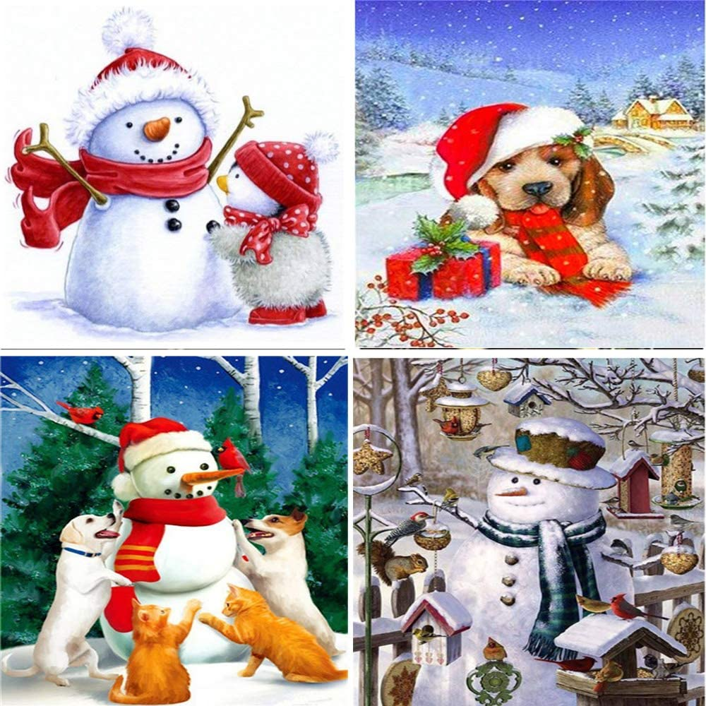 DIY 5D Diamond Painting by Number Kits for Adults, (4 Packs 9.8 × 12 Inch) hristmas Snowman Dog Diamond Painting Christmas Painting Full Drill Diamond Art for Home Wall Decorations