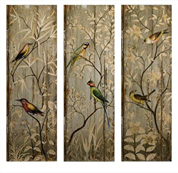 IMAX 27626-3 Calima Bird Wall Decor, Set of 3