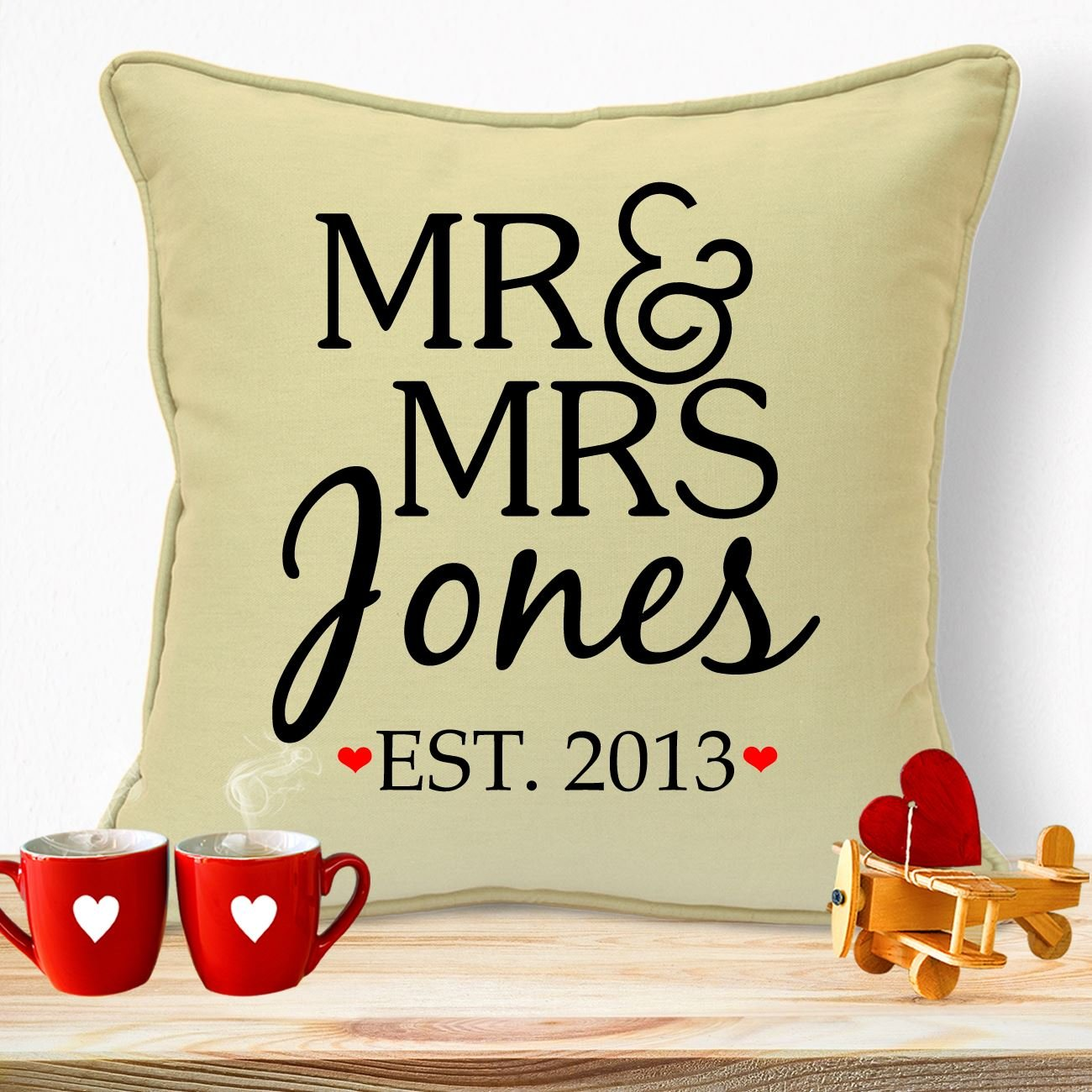 Personalised Gifts For Husband Wife Him Her Girlfriends Boyfriends Wedding Anniversary Valentines Day Birthday Christmas Xmas Romantic Decorations Ideas For Couples Handmade Mr & Mrs Sign Cushion
