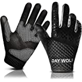 day wolf New Full Finger Workout Gloves Gym Exercise Half Finger Fitness Gloves Heavy Weight Lifting Leather Palm Protection Strong Grip Padded Quality Breathable Comfort Gloves