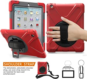 BRAECNstock iPad 2 3 4 Case [Heavy Duty Protection] Full Body Three Layer Hybrid Shockproof High Impact Resistant Case with Kickstand/Hand Strap and Shoulder Strap for Apple iPad 2 case (Red)