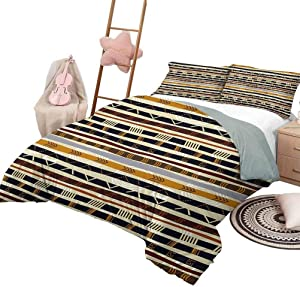DayDayFun Kids' Quilt Set Tribal Soft Lightweight Coverlet for All Season with Trippy Geometric Forms Primitive Heritage Wild Earthen Pattern King Size Multicolor