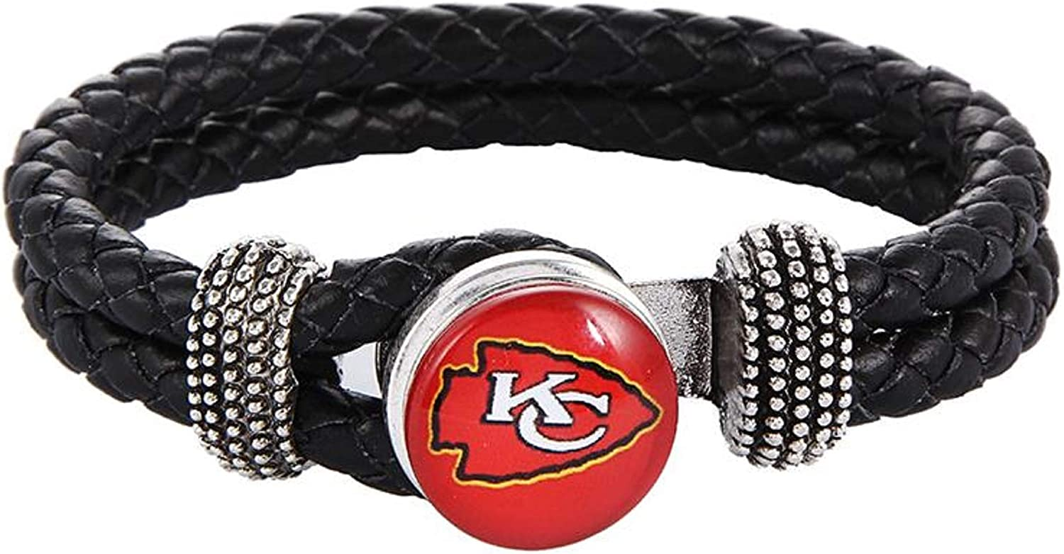 Swamp Fox Kansas City Chiefs Double Leather Band Bracelet with Charm 7 to 9